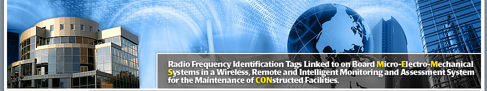 Radio frequency identification tags linked to on board micro-electro-mechanical systems in a wireless, remote and intelligent monitoring and assessment system for the maintainance of constructed facilities.